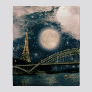 one starry night on paris Throw Blanket