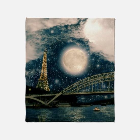 one starry night on paris Throw Blanket