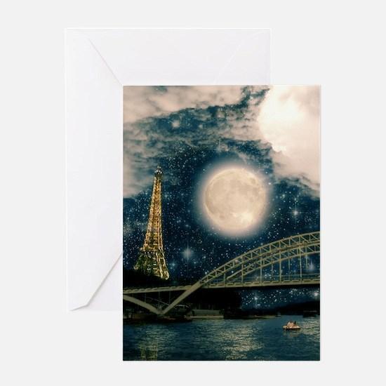 one starry night on paris Greeting Card