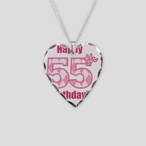 Happy 55th Birthday - Pink Ar Necklace Heart Charm