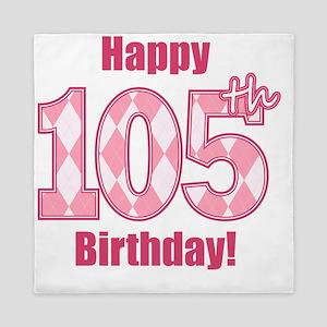 Happy 105th Birthday - Pink Argyle Queen Duvet