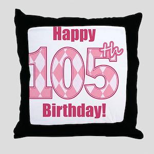 Happy 105th Birthday - Pink Argyle Throw Pillow
