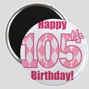Happy 105th Birthday - Pink Argyle Magnet