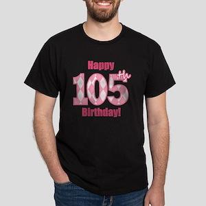 Happy 105th Birthday - Pink Argyle Dark T-Shirt
