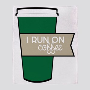 I Run On Coffee Throw Blanket