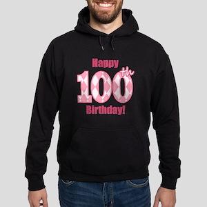 Happy 100th Birthday - Pink Argyle Hoodie (dark)