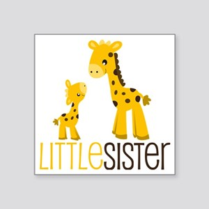 "Little Sister Giraffe Square Sticker 3"" x 3"""