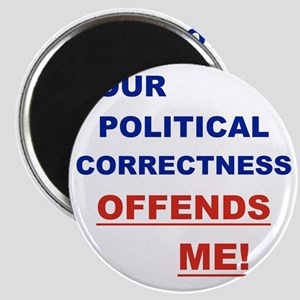 YOUR POLITICAL CORRECTNESS OFFENDS ME Magnet
