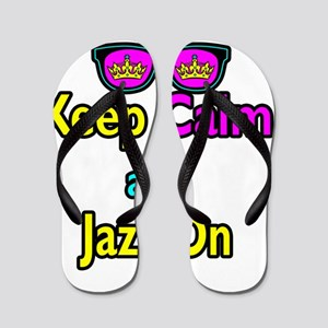 Crown Sunglasses Keep Calm And Jazz On Flip Flops