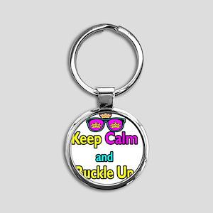 Crown Sunglasses Keep Calm And Buck Round Keychain