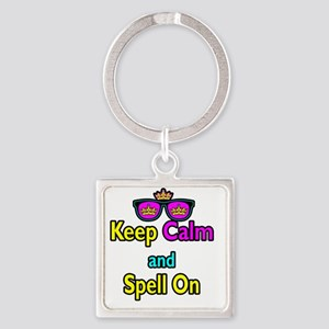 Crown Sunglasses Keep Calm And Spe Square Keychain