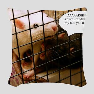 Rat Gag Woven Throw Pillow
