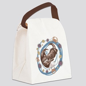 Sleepy Otters Canvas Lunch Bag