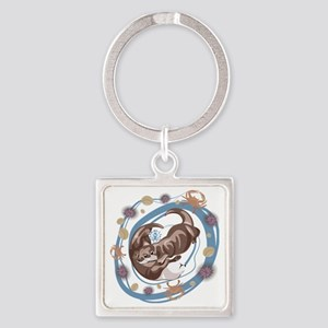 Sleepy Otters Square Keychain