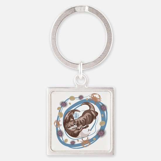 Sleepy Otters Square Keychain