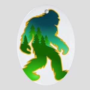 Sasquatch Forest Scene Oval Ornament