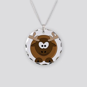 Happy Moose Necklace Circle Charm