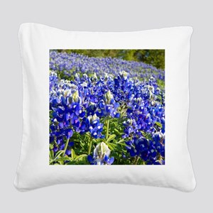 Fields of Bluebonnets Square Canvas Pillow