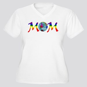 PEACE ONE EARTH MOM (RB) Women's Plus Size V-Neck
