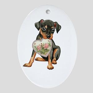 minpin mom1K Oval Ornament