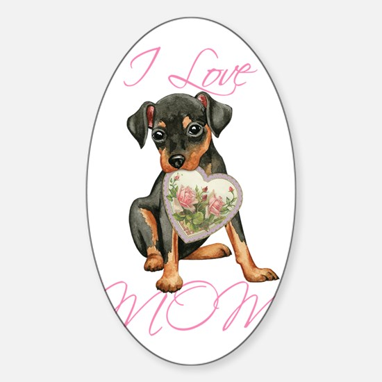 Min Pin Mom Sticker (Oval)