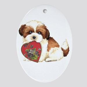 shih tzu mom1K Oval Ornament
