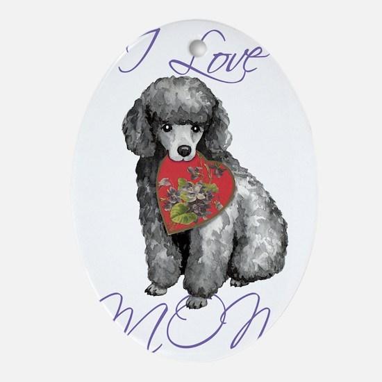 mini poodle mom Oval Ornament