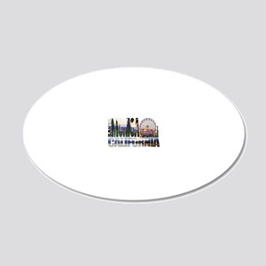 Santa Monica Logo pier beach 20x12 Oval Wall Decal