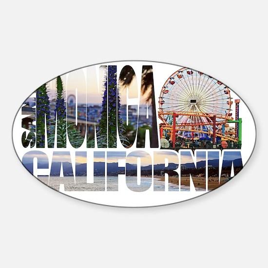 Santa Monica Logo pier beach flora Sticker (Oval)