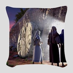 He Is Risen Woven Throw Pillow