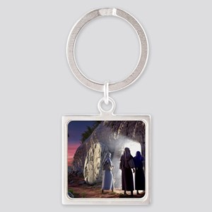 He Is Risen Square Keychain