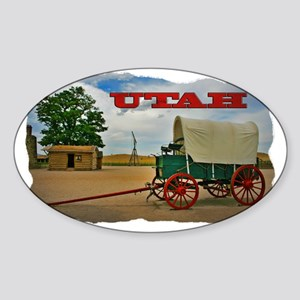 Utah covered wagon Sticker (Oval)