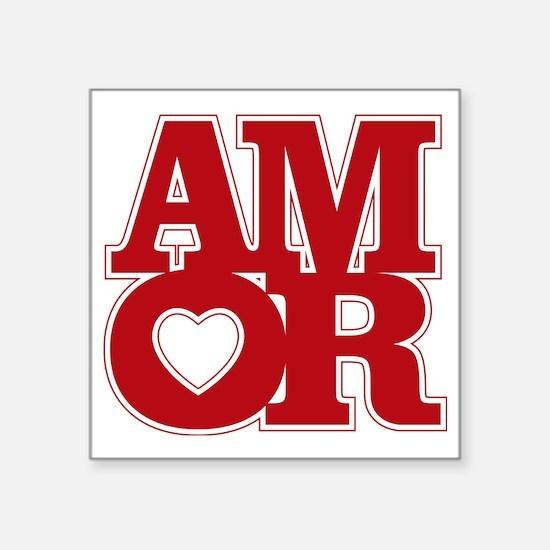 "AMOR logo Square Sticker 3"" x 3"""