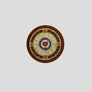 luther rose window round ornamentc Mini Button