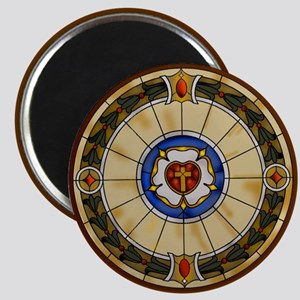 luther rose window round ornamentc Magnets