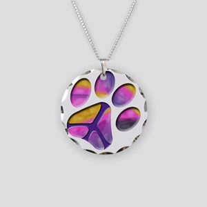 Peaceful Paw Print Necklace Circle Charm