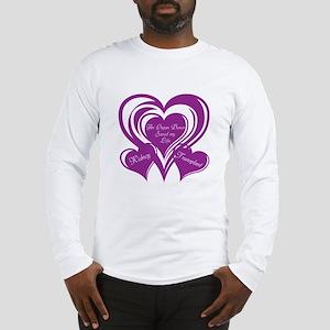 Purple love Triple Heart Long Sleeve T-Shirt