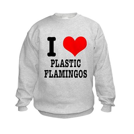 I Heart (Love) Plastic Flamingos Kids Sweatshirt