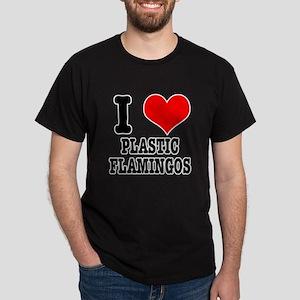 I Heart (Love) Plastic Flamingos Dark T-Shirt