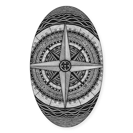 Compass Rose Sticker (Oval)