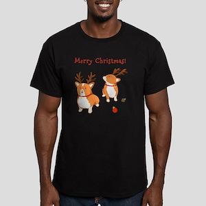 Corgi Christmas Men's Fitted T-Shirt (dark)