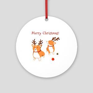 Corgi Christmas Round Ornament