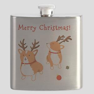 Corgi Christmas Flask