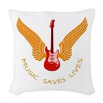 Music Save Lives - Guitar Wings Woven Throw Pillow