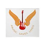 Music Save Lives - Guitar Wings Y Throw Blanket