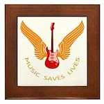 Music Save Lives - Guitar Wings Y Framed Tile