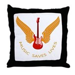 Music Save Lives - Guitar Wings Y Throw Pillow