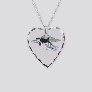 Breaching Killer Whale Necklace Heart Charm