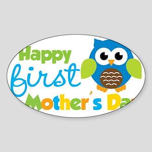 Owl Boy 1st Mothers Day Sticker (Oval)