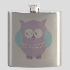 Sleepy Purple Owl Flask